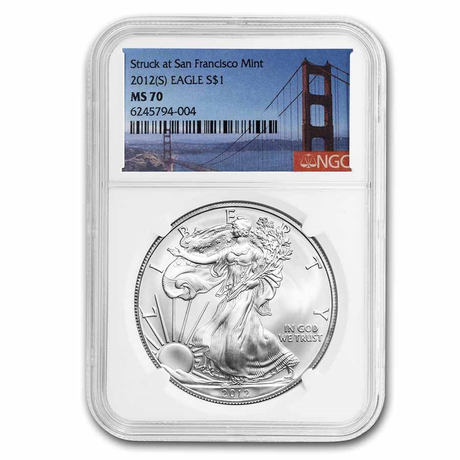 2012 (S) Silver Eagle MS-70 NGC (Golden Gate Bridge Label)