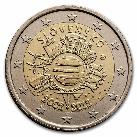 2012 Slovakia 2 Euro 10 Years of the Euro BU