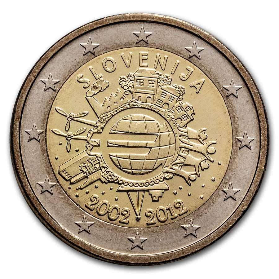 2012 Slovenia 2 Euro 10 Years of the Euro BU