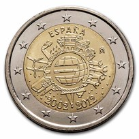 2012 Spain 2 Euro 10 Years of the Euro BU