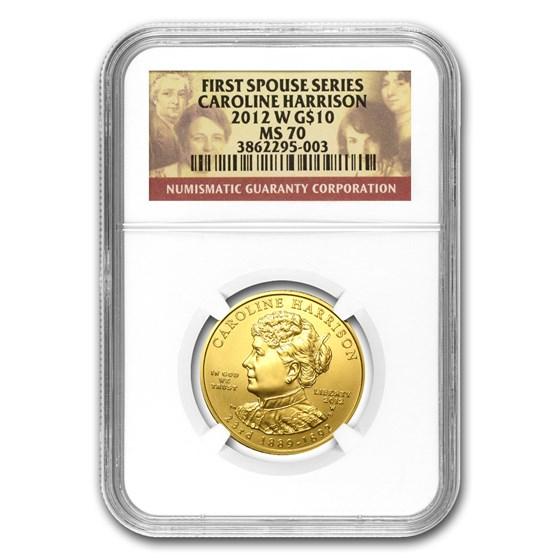2012-W 1/2 oz Gold Caroline Harrison MS-70 NGC