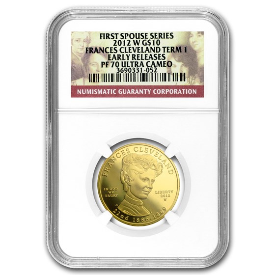 2012-W 1/2 oz Prf Gold Frances Cleveland 1st Term PF-70 NGC (ER)