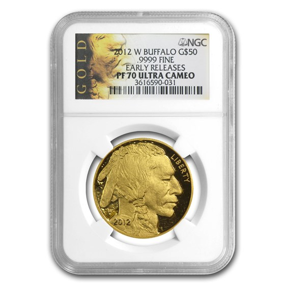 2012-W 1 oz Proof Gold Buffalo PF-70 NGC (ER, Black Label)