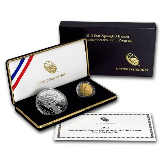 2012-W 2-Coin Commem Star Spangled Banner Proof Set (w/Box & COA)
