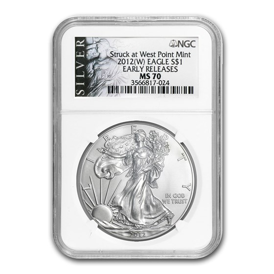 2012 (W) American Silver Eagle MS-70 NGC (ALS Label, ER)