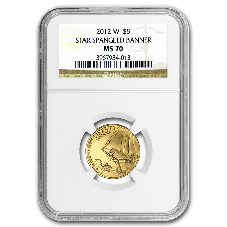 2012-W Gold $5 Commem Star Spangled Banner MS-70 NGC
