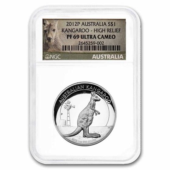 2012P Australia 1 oz Silver Kangaroo PF-69 UC NGC (High Relief)