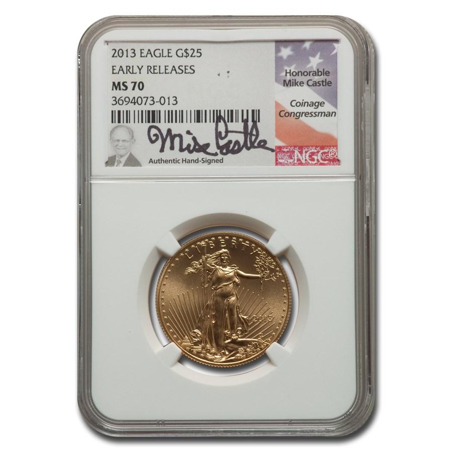 2013 1/2 oz American Gold Eagle MS-70 NGC (ER, Castle)