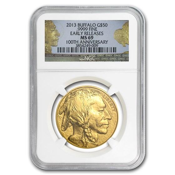2013 1 oz Gold Buffalo MS-69 NGC (ER, 100th Anniv Label)