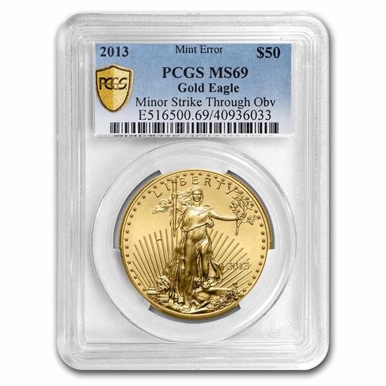 2013 1 oz Gold Eagle MS-69 PCGS (Error, Minor Strike-Thru Obv)
