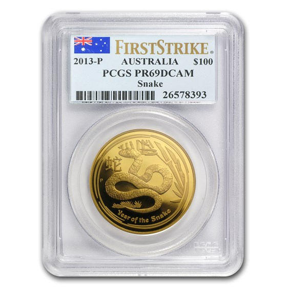 2013 1 oz Gold Lunar Year of the Snake PR-69 PCGS (SII, FS)