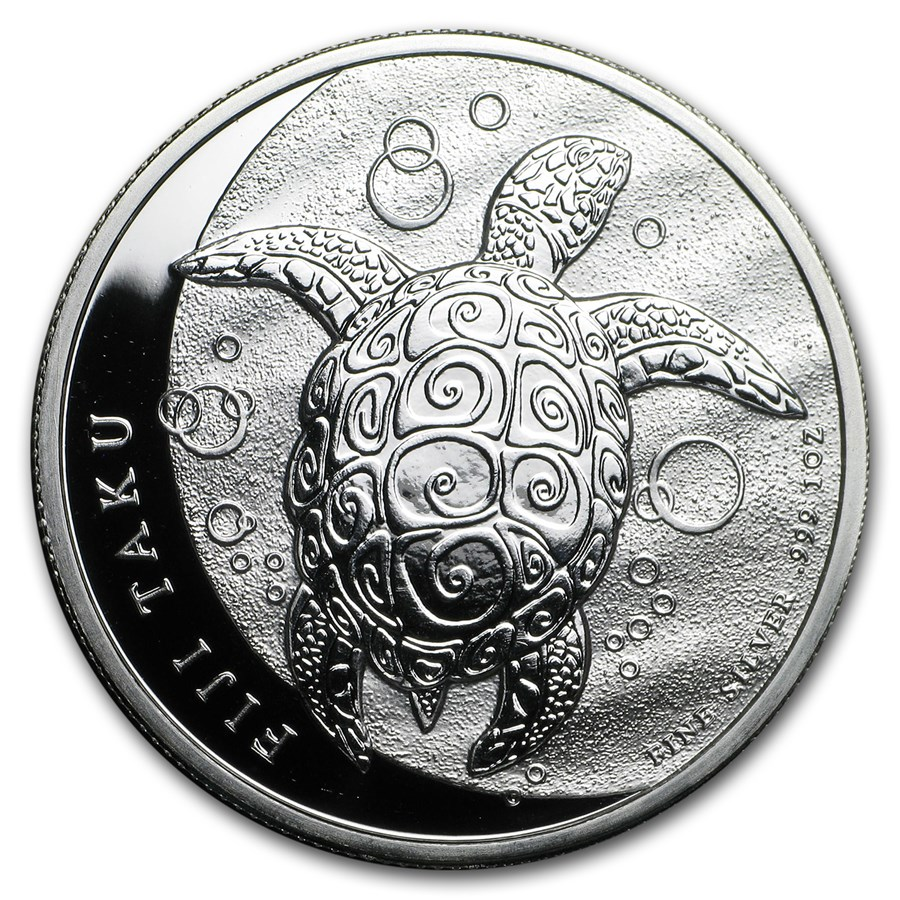 2013 1 oz Silver New Zealand Mint $2 Fiji Taku (Abrasions)