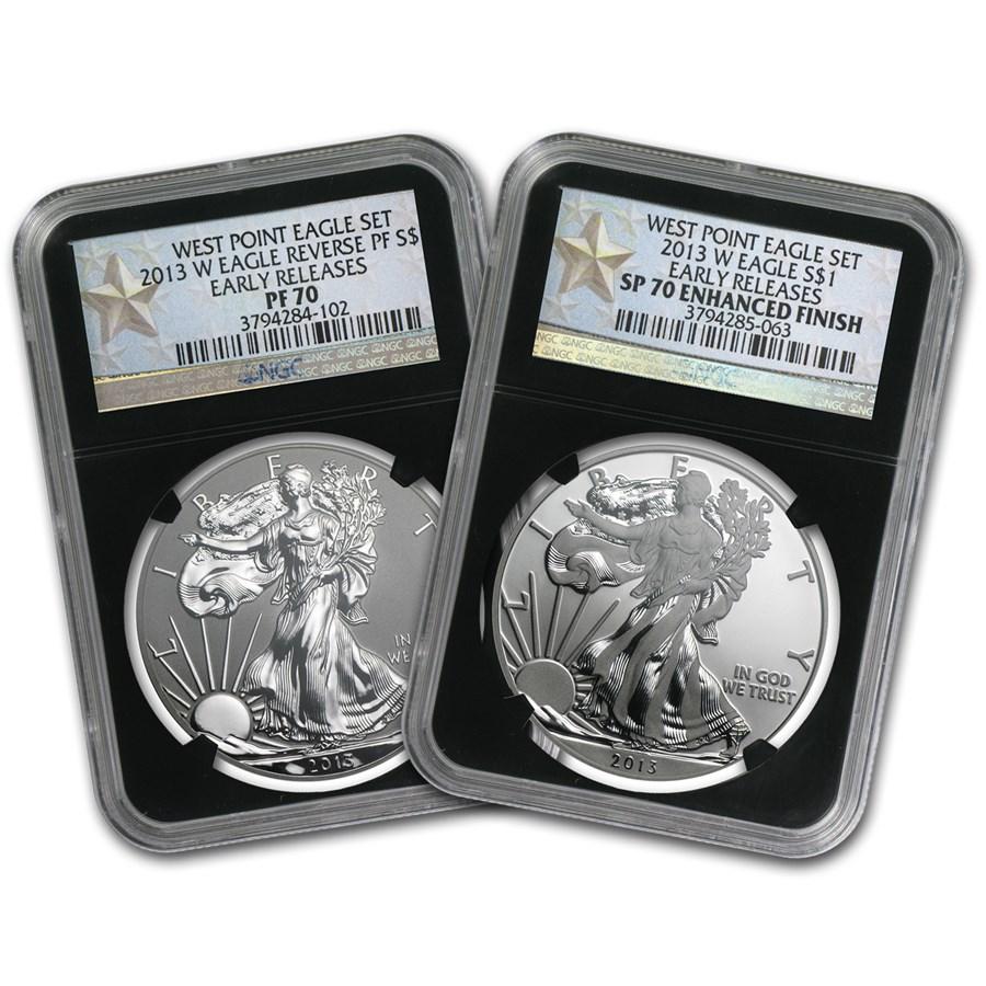 2013 2-Coin Silver Eagle Set SP/PR-70 NGC (ER, West Point, Blk)
