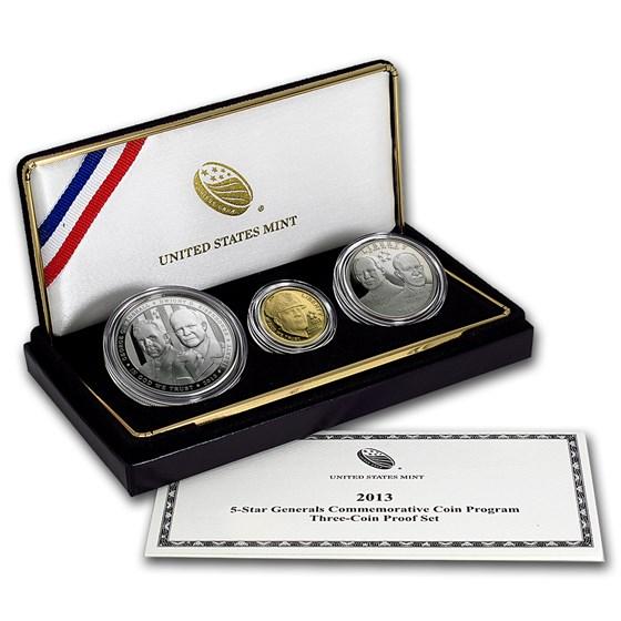 2013 3-Coin Commem Five Star General Proof Set (w/Box & COA)