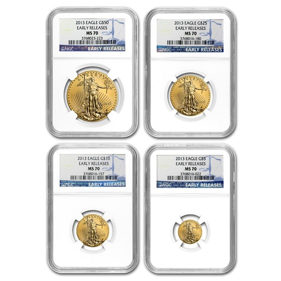 2013 4-Coin Gold American Eagle Set MS-70 NGC (Early Releases)