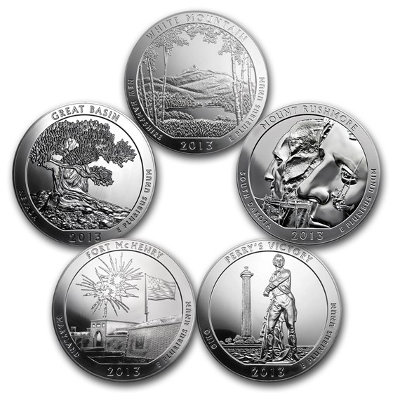 2013 5-Coin 5 oz Silver ATB Set (America the Beautiful)