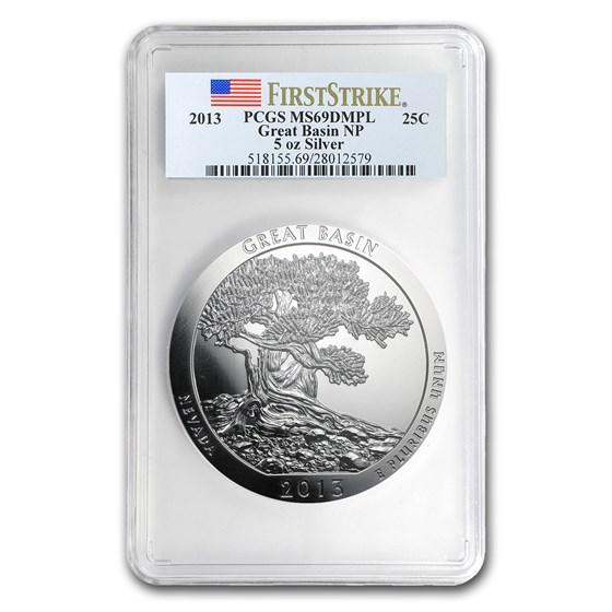 2013 5 oz Silver ATB Great Basin MS-69 DMPL PCGS (FS)