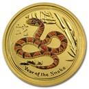 2013 Australia 1/10 oz Gold Lunar Snake BU (SII, Orange Color)