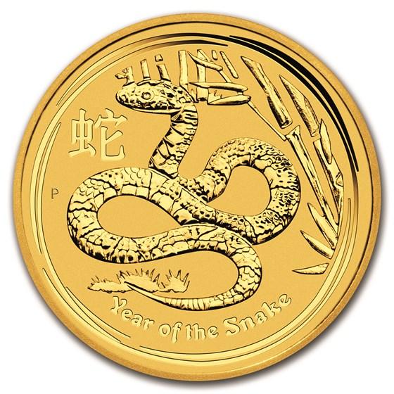 2013 Australia 1/4 oz Gold Lunar Snake BU (Series II)