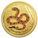 2013 Australia 1 oz Gold Lunar Snake BU (Series II, Orange Color)