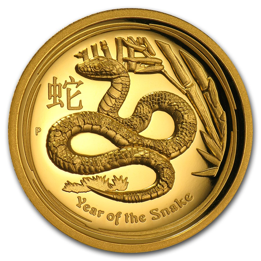 2013 Australia 1 oz Gold Lunar Snake Proof (UHR, Box & COA)