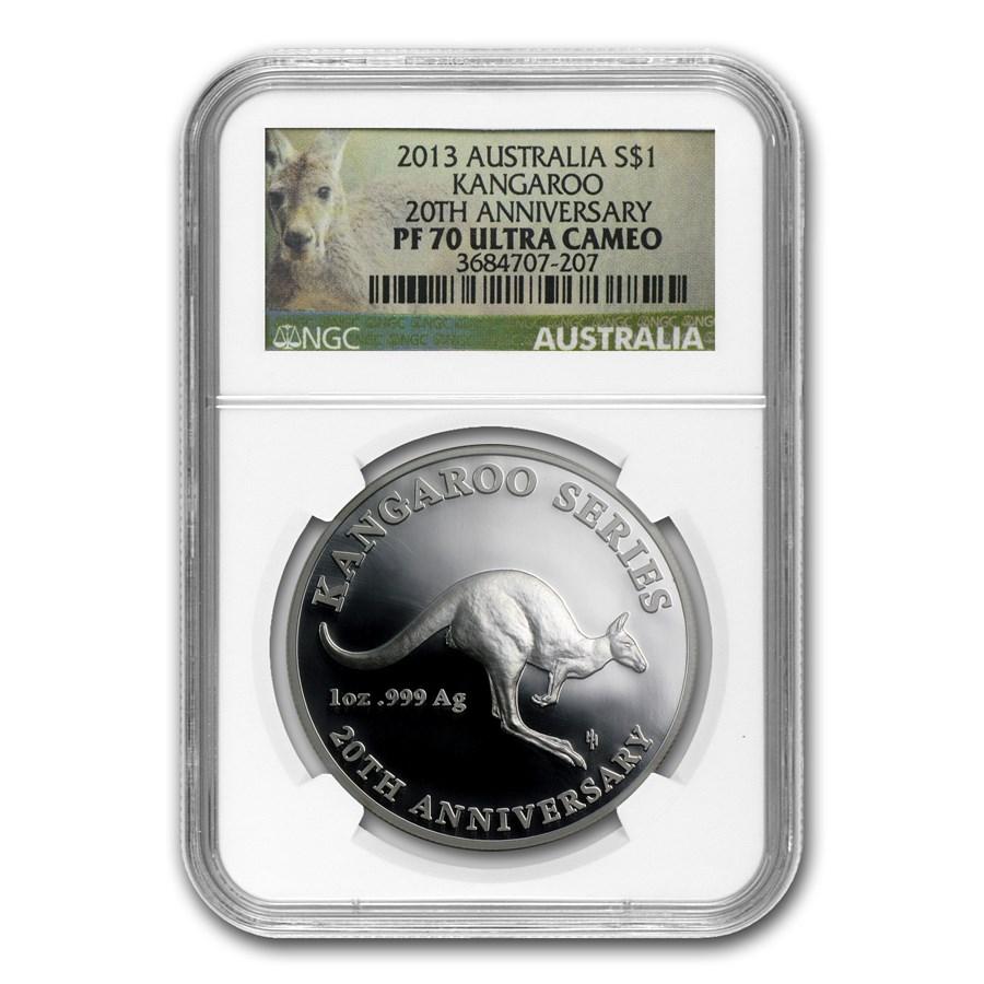 2013 Australia 1 oz Silver Kangaroo 20th Anniversary PF-70 NGC