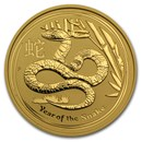 2013 Australia 2 oz Gold Lunar Snake BU (Series II)
