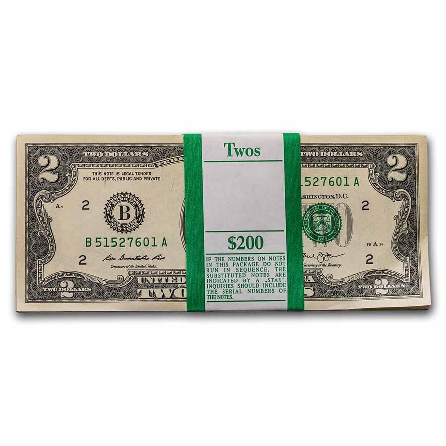 2013 (B- New York) $2.00 FRN CU (Fr#1940-B) 100 Consecutive