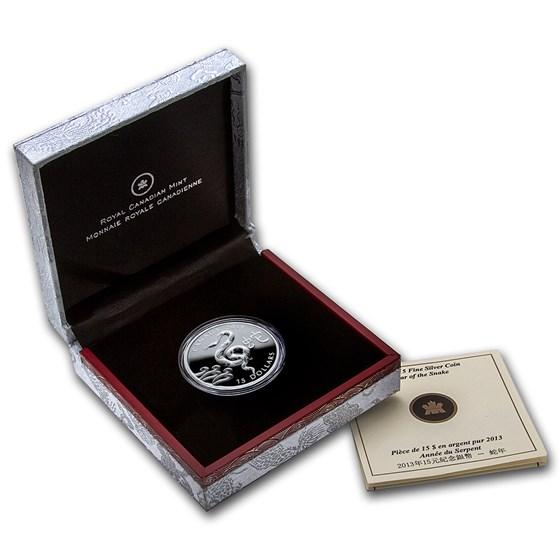 2013 Canada 1 oz Silver $15 Lunar Snake (w/Box & COA)