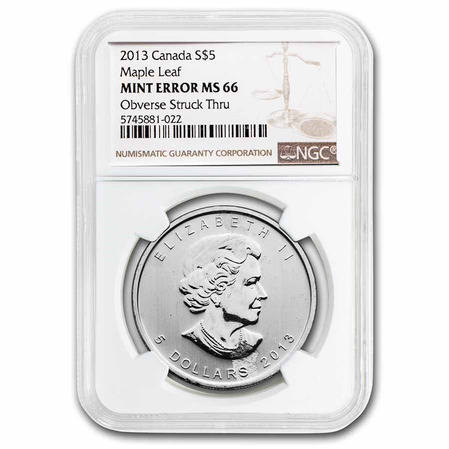 2013 Canada 1 oz Silver Maple Leaf MS-66 NGC (Obv Struck Thru)