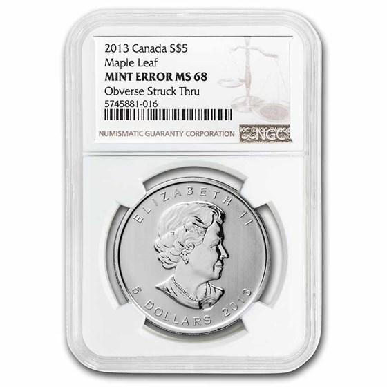 2013 Canada 1 oz Silver Maple Leaf MS-68 NGC (Obv Struck Thru)