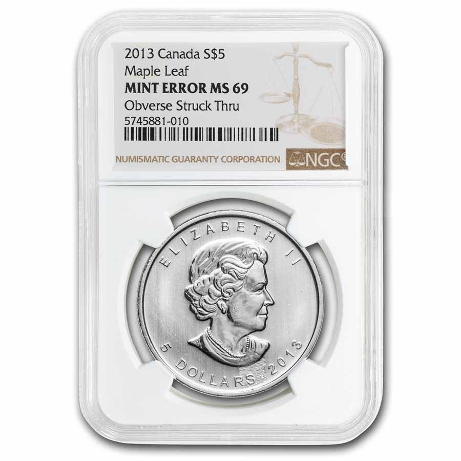 2013 Canada 1 oz Silver Maple Leaf MS-69 NGC (Obv Struck Thru)