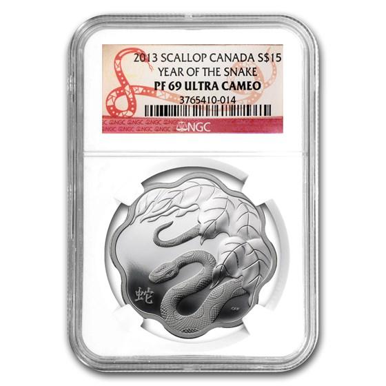 2013 Canada Proof Silver $15 Lunar Lotus Snake PF-69 NGC
