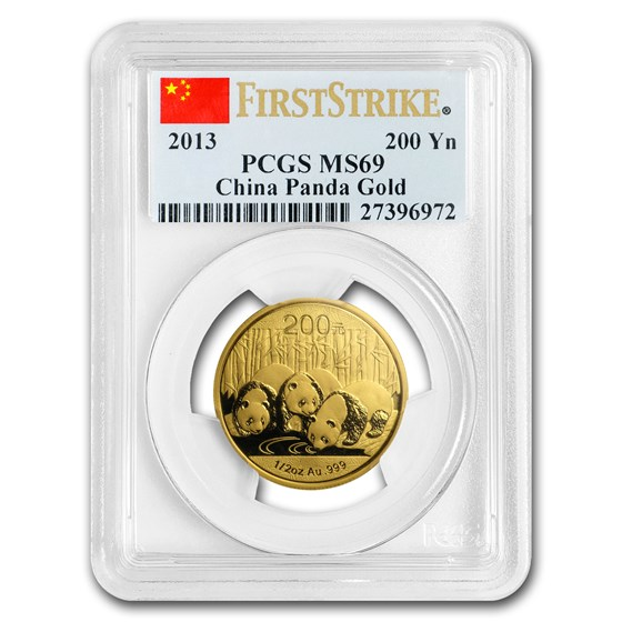 2013 China 1/2 oz Gold Panda MS-69 PCGS (FS)