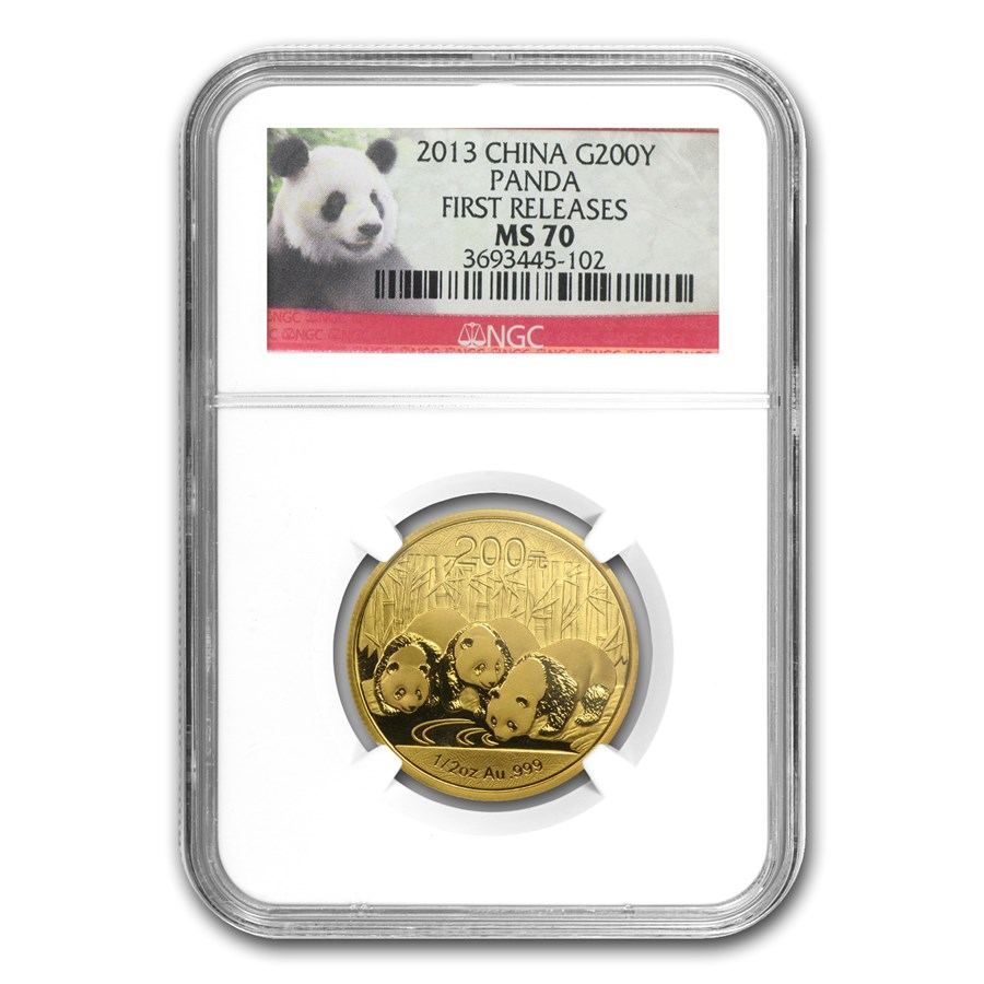 2013 China 1/2 oz Gold Panda MS-70 NGC (First Release)