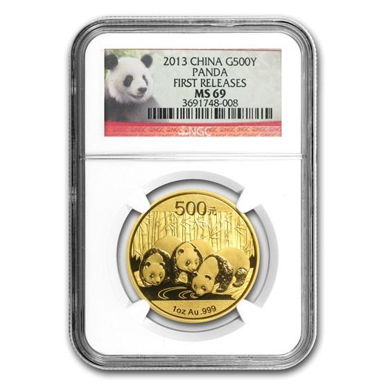 2013 China 1 oz Gold Panda MS-69 NGC (First Release)