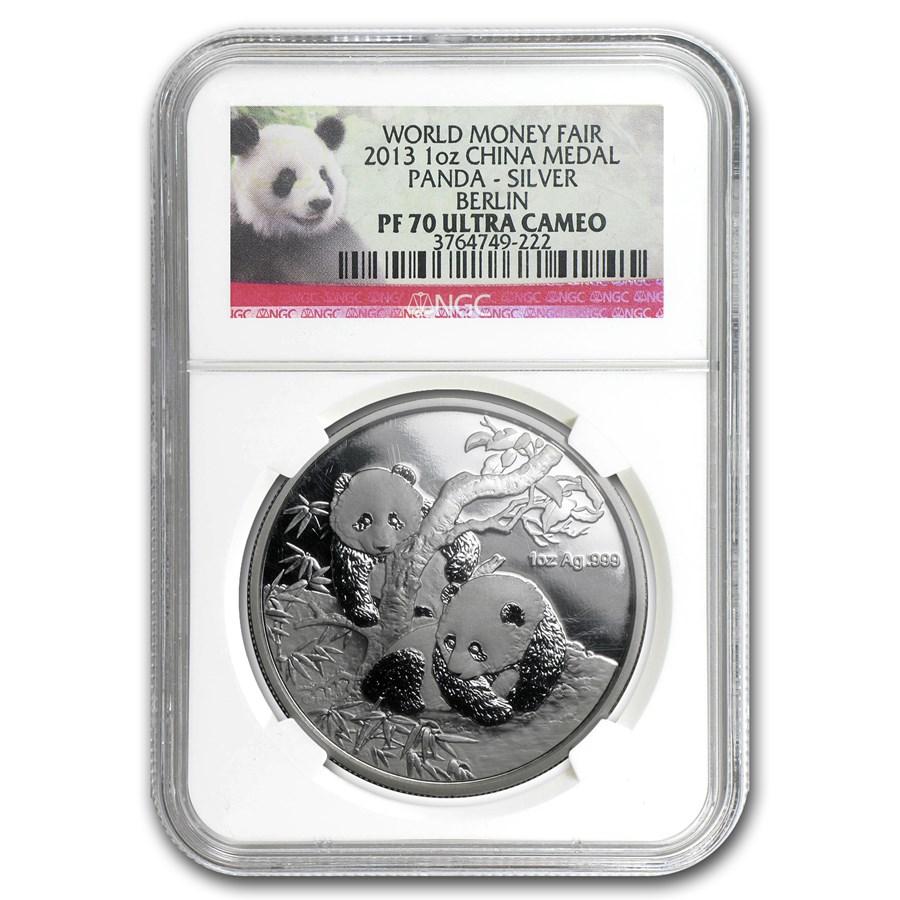 2013 China 1 oz Silver Panda Berlin Money Fair PF-70 NGC