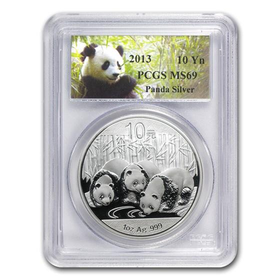 2013 China 1 oz Silver Panda MS-69 PCGS
