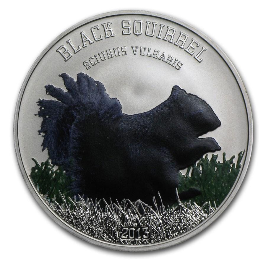 2013 Cook Islands Silver Black Beauties Proof (Black Squirrel)