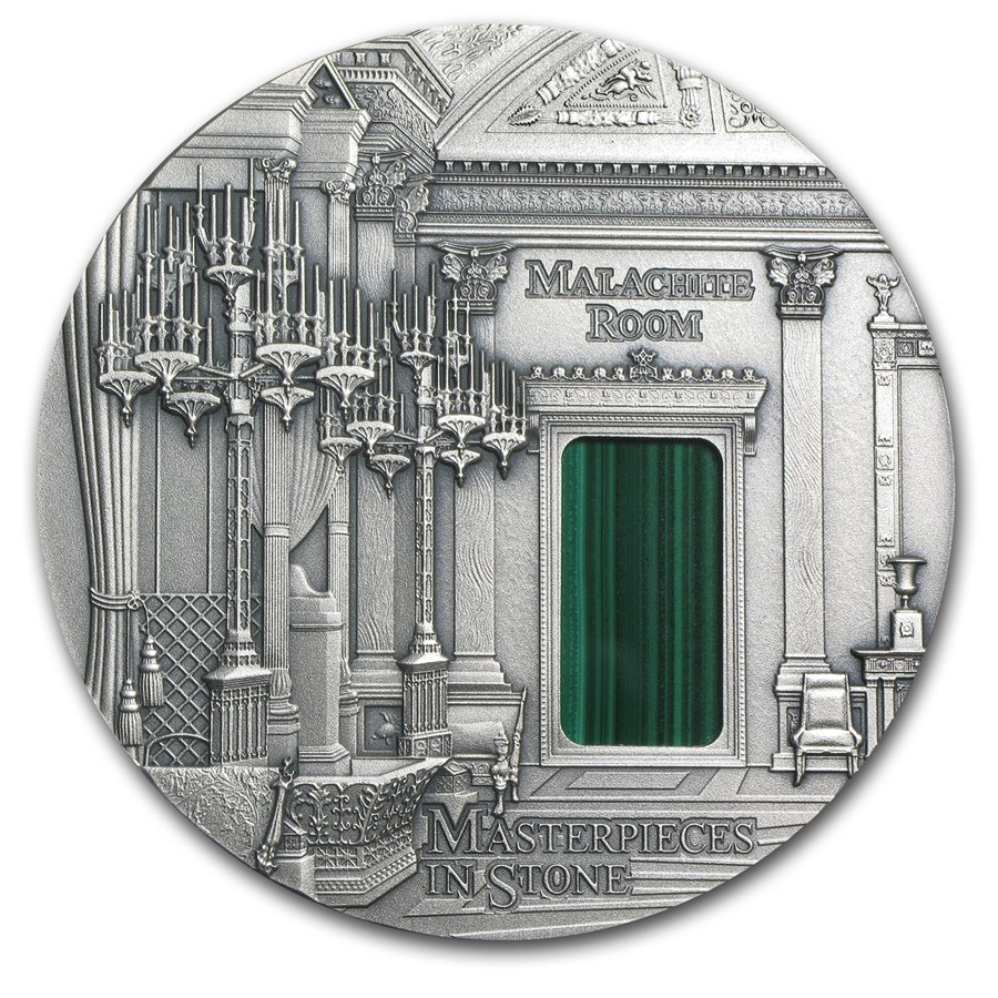 2013 Fiji 3 oz Silver Masterpieces in Stone Malachite Room