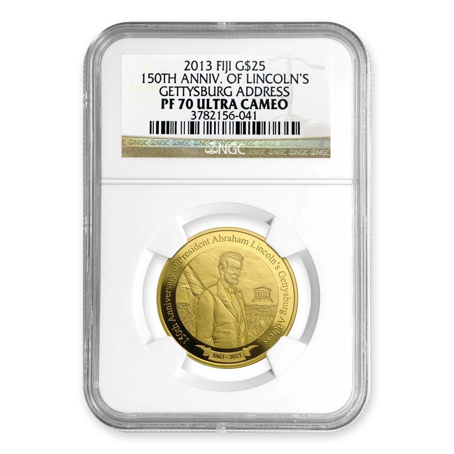 2013 Fiji Gold $25 Ann. of Lincoln's Gettysburg Address PF-70 NGC