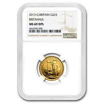 2013 Great Britain 1/4 oz Gold Britannia Coin MS-69 NGC (DPL)