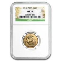 2013-I India Gold Sovereign MS-70 NGC