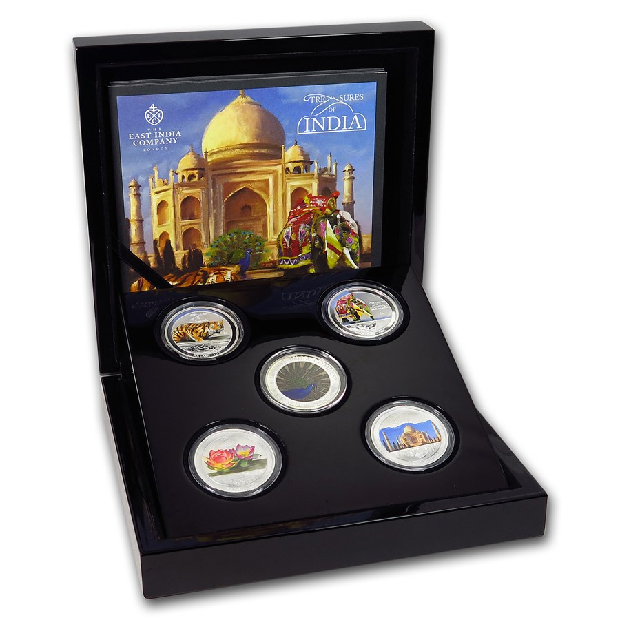 2013 India 5-Coin Treasures of India Cash Silver Set