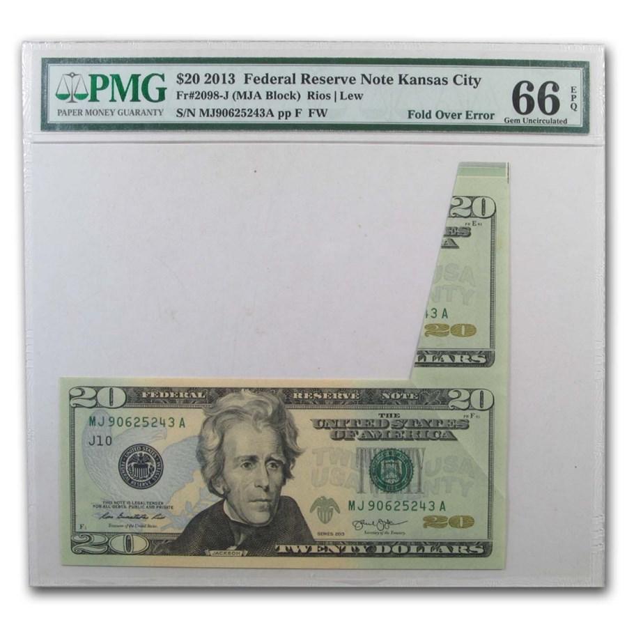2013 (J-Kansas City) $20 FRN CU-66 EPQ PMG (Butterfly Error)
