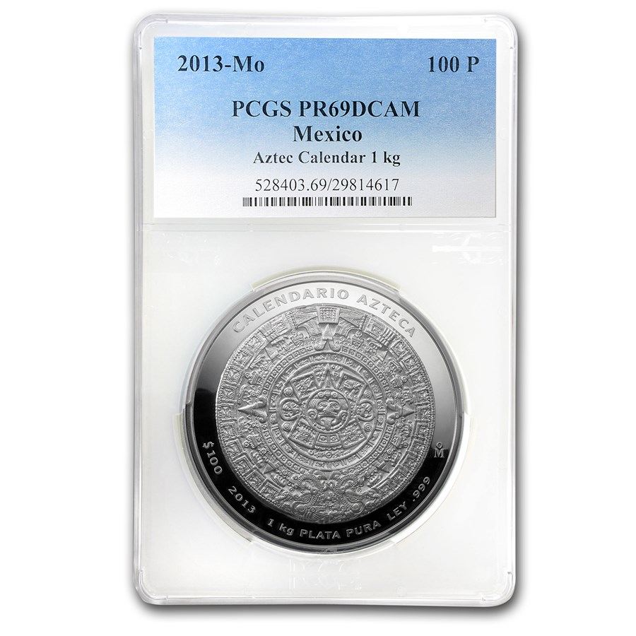2013 Mexico 1 kilo Silver Aztec Calendar PR-69 PCGS