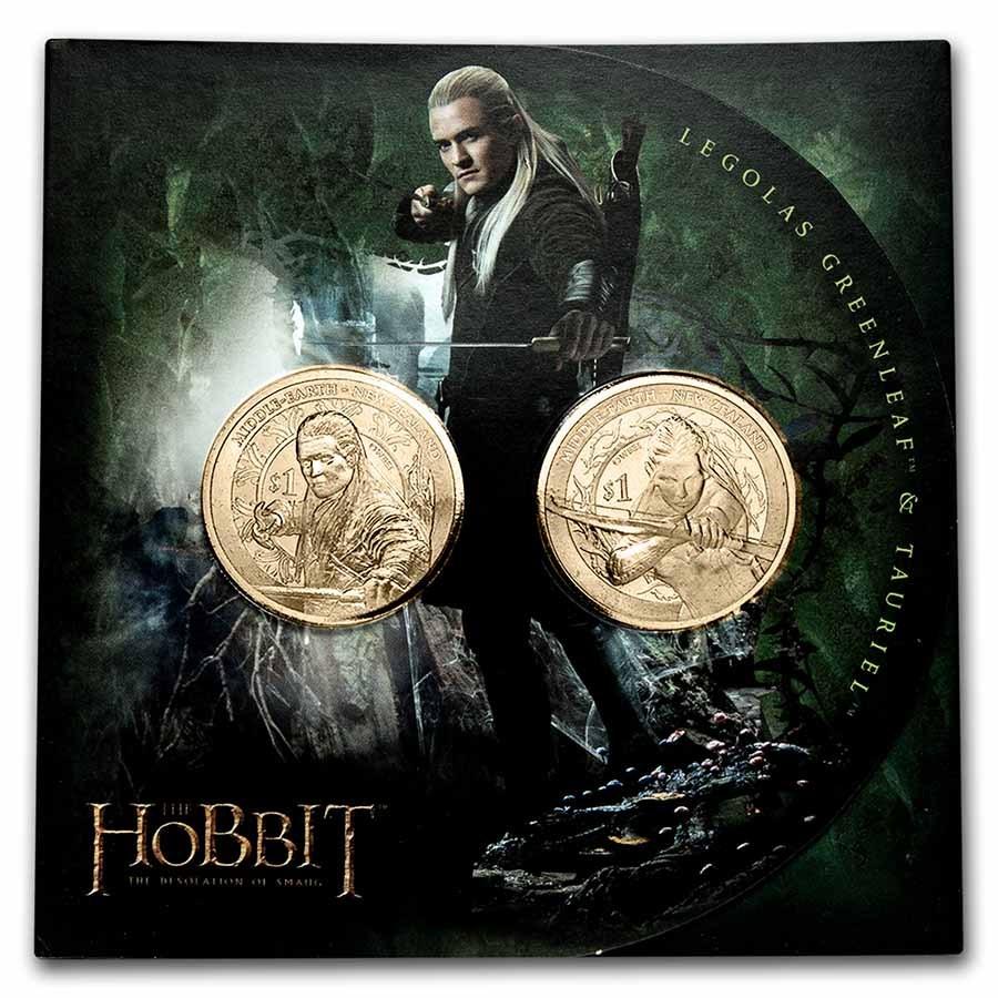 2013 NZL 20 gram The Hobbit: Desolation of Smaug 2-Coin Set BU