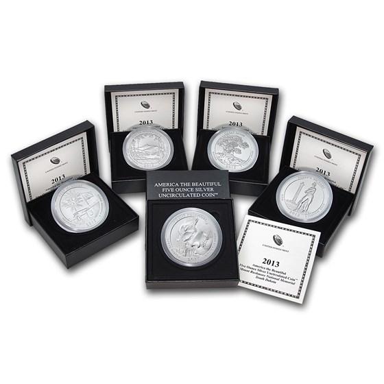2013-P 5-Coin 5 oz Silver Burnished ATB Set (w/Box & COA)