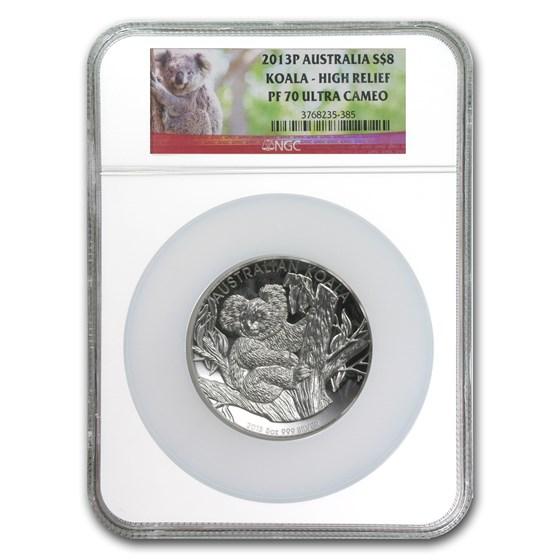 2013-P Australia 5 oz Silver Koala PF-70 NGC (High Relief)