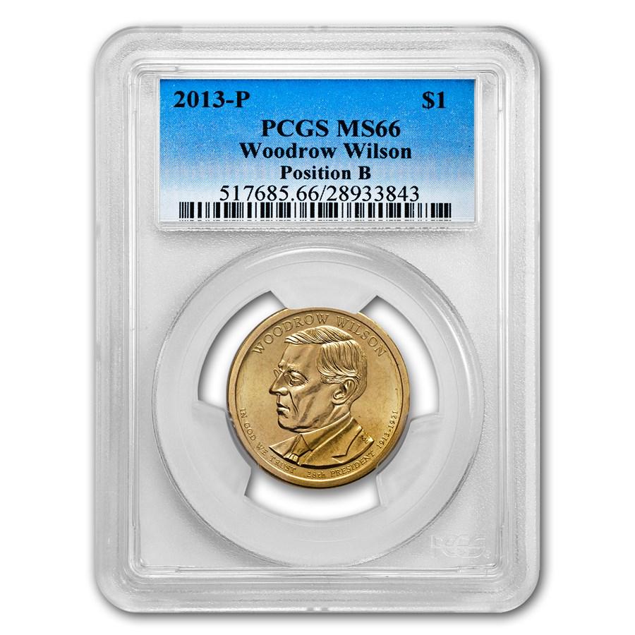 2013-P B Position Woodrow Wilson Presidential Dollar MS-66 PCGS